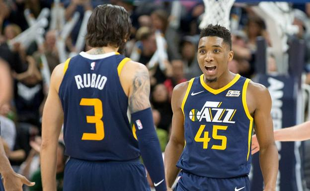 Ricky Rubio y Donovan Mitchell, en el partido. /USA TODAY Sports