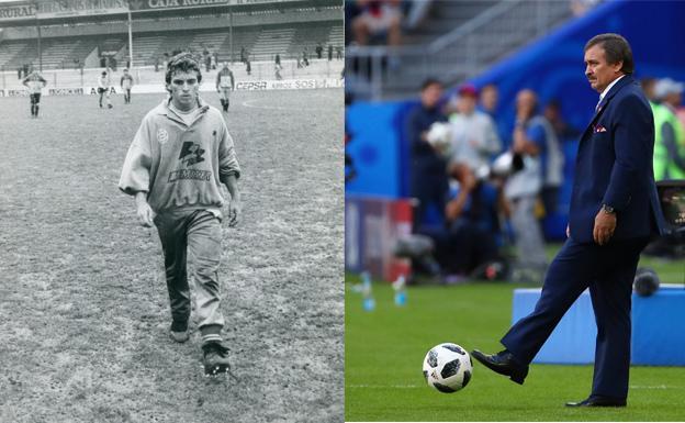 Óscar Ramírez, en Las Gaunas hace 30 años y ayer, en el partido de Costa Rica . /L.R. / Reuters