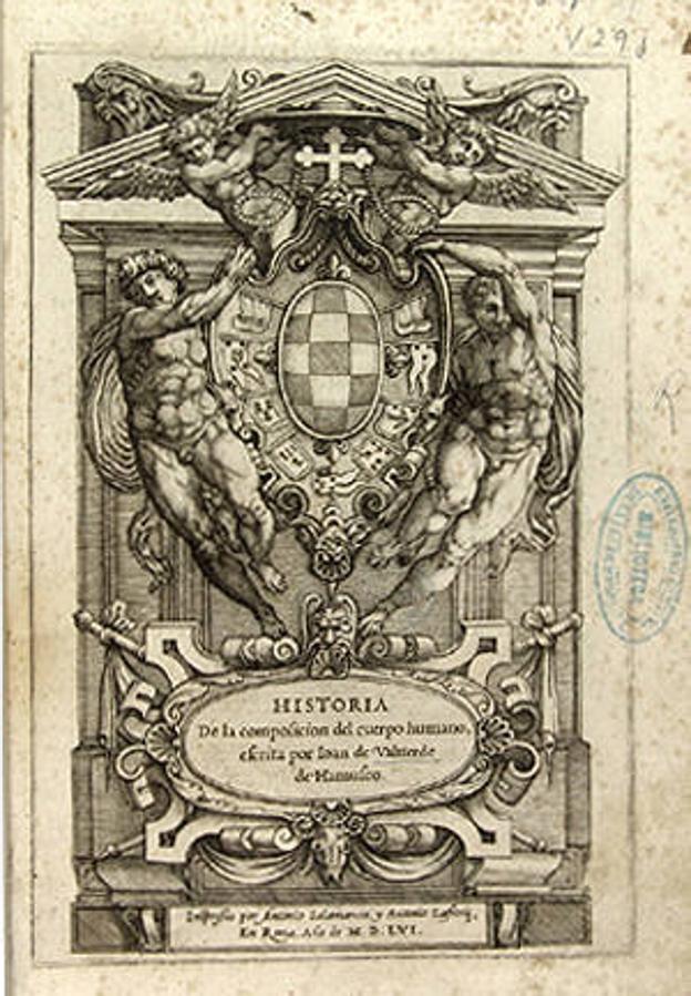 'Historia de la composicion del cuerpo humano', de Ioan de Valuerde de Hamusco, exlibris de Vicente Asuero