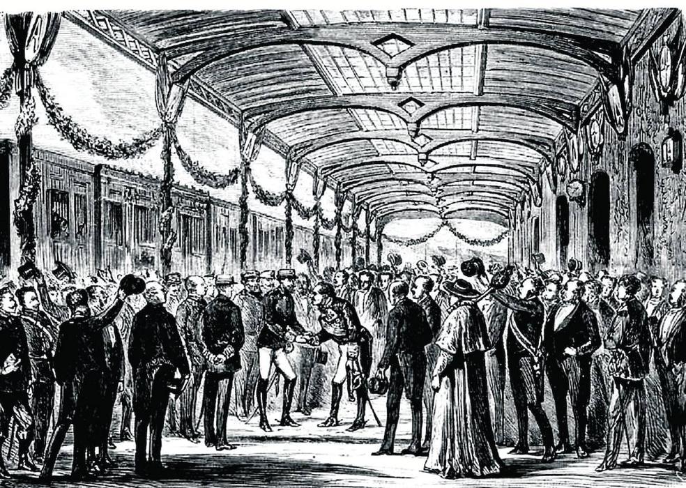 Baldomero Espartero se inclina ante Amadeo I en la estación del ferrocarril de Logroño, que recibe al nuevo rey